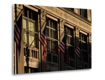 Close View of Flags Hanging on Building in New York-Todd Gipstein-Metal Print