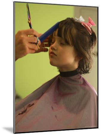 A 6-year-old Girl Gets a Haircut-Stephen Alvarez-Mounted Photographic Print