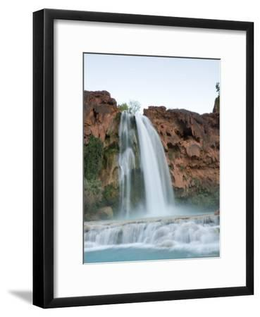 Deep Blue Water Rushes Over a Cliff Formed by Mineral Deposits-Taylor S^ Kennedy-Framed Photographic Print