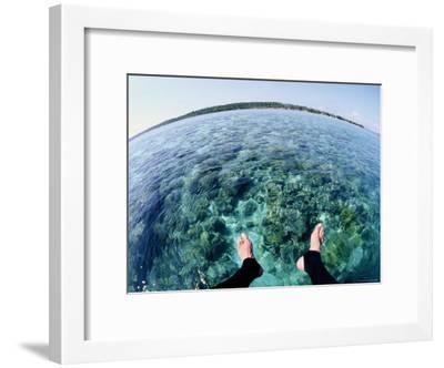 A Diver Explores the Coral Reef Surrounding Bunaken Island-Wolcott Henry-Framed Photographic Print