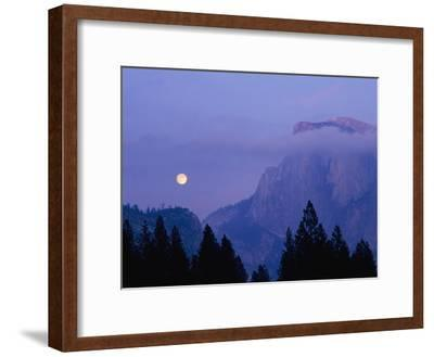 The Moon Rises over Half Dome in Yosemite National Park-Marc Moritsch-Framed Photographic Print