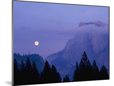 The Moon Rises over Half Dome in Yosemite National Park-Marc Moritsch-Mounted Photographic Print