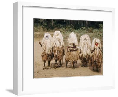 A Group of Young Boys in a Masked Dance-W^ Robert Moore-Framed Photographic Print