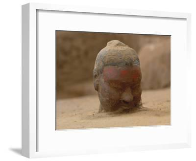 The Head, Encrusted with Dirt, of a Terra-Cotta Soldier Just Emerging-O^ Louis Mazzatenta-Framed Photographic Print