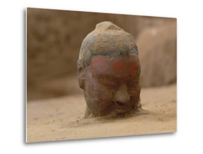 The Head, Encrusted with Dirt, of a Terra-Cotta Soldier Just Emerging-O^ Louis Mazzatenta-Metal Print