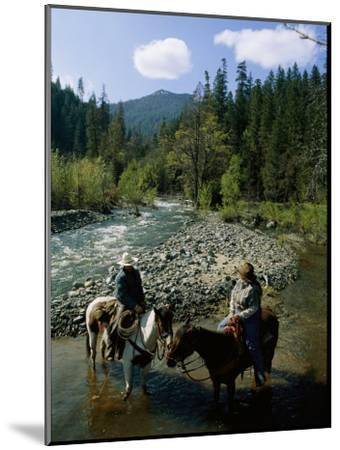 Horseback Riders Stand in Coffee Creek-Phil Schermeister-Mounted Photographic Print