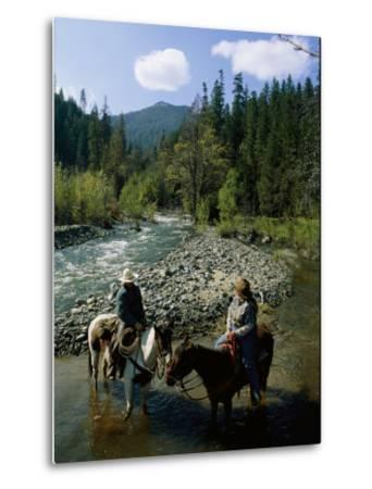 Horseback Riders Stand in Coffee Creek-Phil Schermeister-Metal Print
