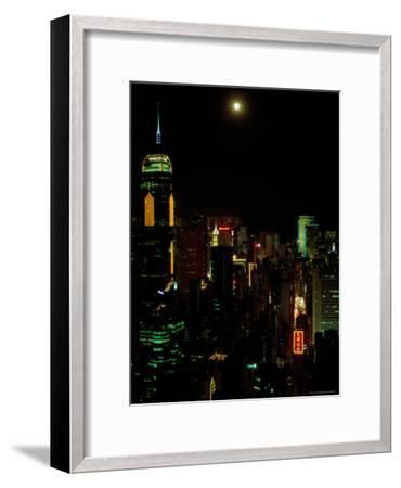 The Moon over the City Lights of Hong Kong-Todd Gipstein-Framed Photographic Print