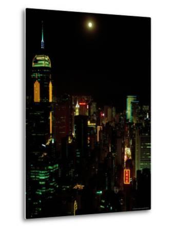 The Moon over the City Lights of Hong Kong-Todd Gipstein-Metal Print