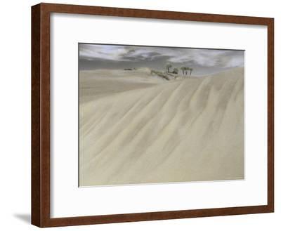 A Massive Sand Dune Dwarfs Trees on a Barrier Island-Annie Griffiths-Framed Photographic Print