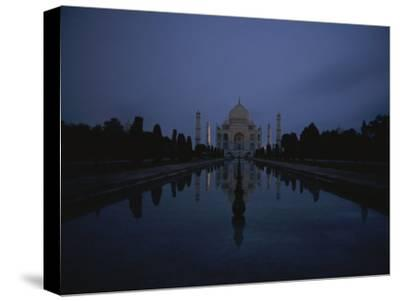 Night View of the Famous Taj Mahal-Michael S^ Lewis-Stretched Canvas Print