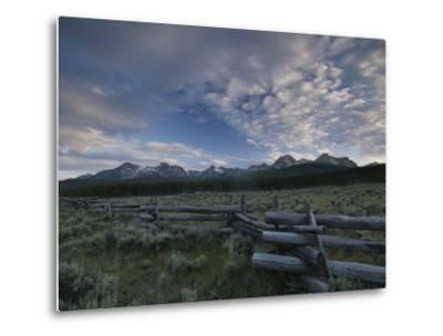 The Sawtooth Mountain Range is a Backdrop for a Split-Rail Fence-Michael Melford-Metal Print