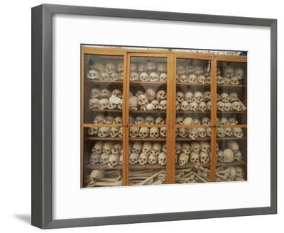 Human Skulls and Femurs Fill a Display Case at Nea Moni Monastery-Tino Soriano-Framed Photographic Print