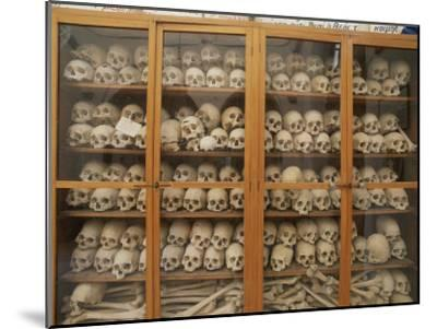Human Skulls and Femurs Fill a Display Case at Nea Moni Monastery-Tino Soriano-Mounted Photographic Print