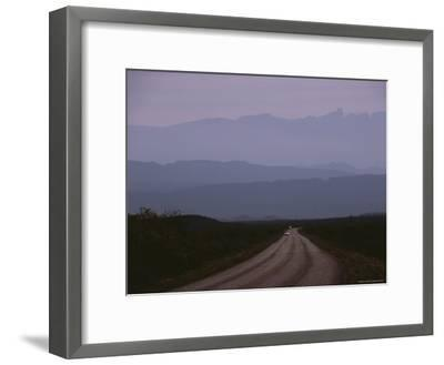 Twilight View of Road Leading to Fog-Shrouded Mountains-Medford Taylor-Framed Photographic Print