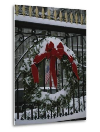 Fresh Snow Covers a Christmas Wreath on the White House Gate-Stephen St^ John-Metal Print