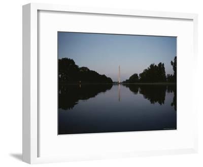 The Washington Monument Reflected at Eye-Level in the Reflecting Pool--Framed Photographic Print