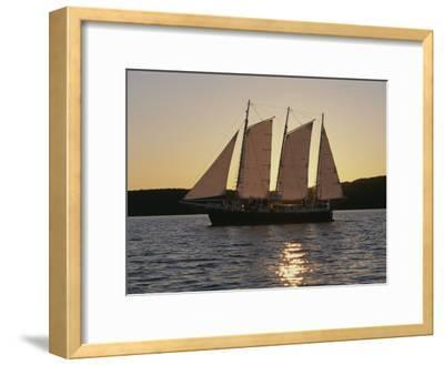 A Ship Cuts Through the Waters of Lake Superior--Framed Photographic Print