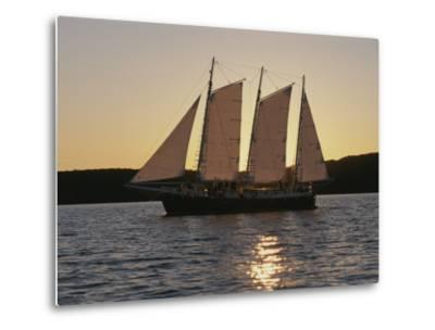 A Ship Cuts Through the Waters of Lake Superior--Metal Print