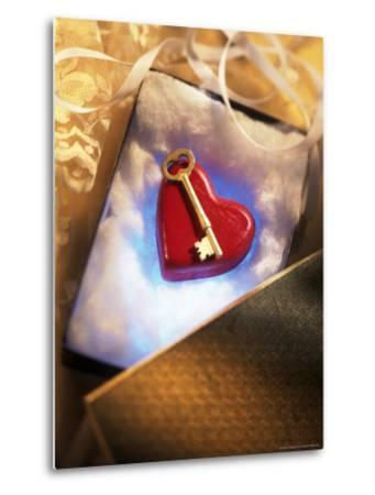 Key on Red Heart in Golden Box with Ribbon-Ellen Kamp-Metal Print