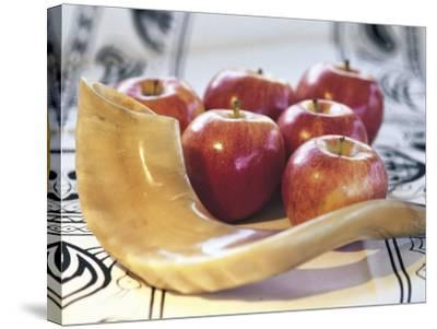 Shofar Horn for Rosh Hashanah Near Apples-Sally Moskol-Stretched Canvas Print