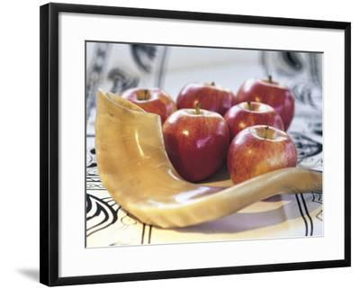Shofar Horn for Rosh Hashanah Near Apples-Sally Moskol-Framed Photographic Print