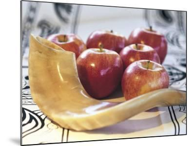 Shofar Horn for Rosh Hashanah Near Apples-Sally Moskol-Mounted Photographic Print