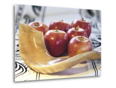 Shofar Horn for Rosh Hashanah Near Apples-Sally Moskol-Metal Print