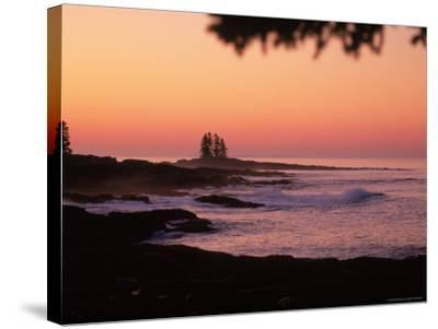 Sunrise, Tall Ship Island, East Boothbay, ME-Ed Langan-Stretched Canvas Print