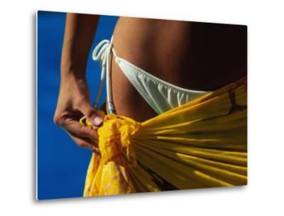 Mexican Woman with Swimwear-Mitch Diamond-Metal Print