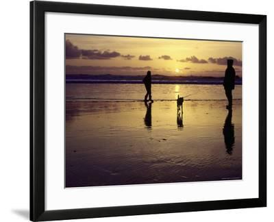 Family with Dog at Sunset, Cape Sebastian, OR-Jim Corwin-Framed Photographic Print