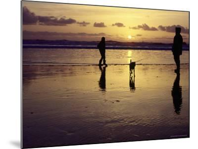 Family with Dog at Sunset, Cape Sebastian, OR-Jim Corwin-Mounted Photographic Print