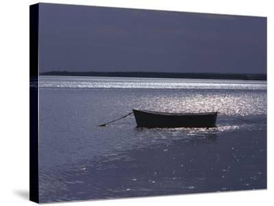 Moored Boat in the Moonlight, Nova Scotia-Keith Levit-Stretched Canvas Print