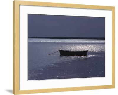 Moored Boat in the Moonlight, Nova Scotia-Keith Levit-Framed Photographic Print