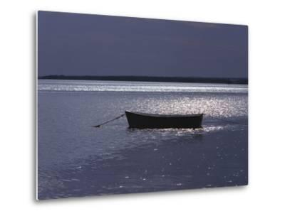 Moored Boat in the Moonlight, Nova Scotia-Keith Levit-Metal Print