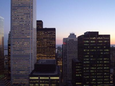 Twilight Over City, Toronto, Canada-Keith Levit-Framed Photographic Print