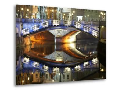 Triple Bridge at Night, Slovenia-David Clapp-Metal Print