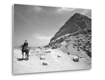 First Stepped Pyramid with Camel Rider, Egypt-David Clapp-Metal Print