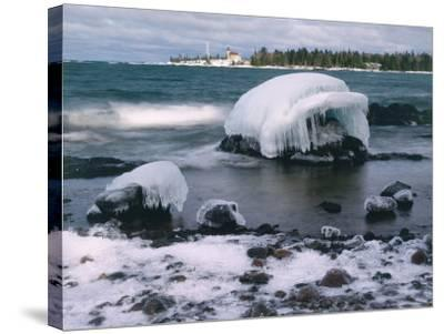 Ice Formations on Lake Superior Below Copper Harbour Lighthouse, Keweenah Peninsula, Michigan, USA-Willard Clay-Stretched Canvas Print