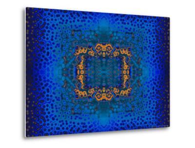 Blue and Orange Fractal Design-Albert Klein-Metal Print