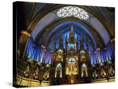 Interior of the Notre Dame Cathedral, Montreal, Quebec, Canada--Stretched Canvas Print