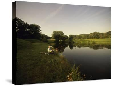 Fishing in a Peaceful Setting--Stretched Canvas Print