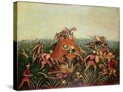 Tiger Hunt, 1892-Jean-baptiste Guiraud-Stretched Canvas Print