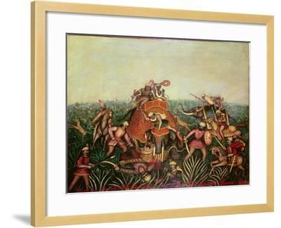 Tiger Hunt, 1892-Jean-baptiste Guiraud-Framed Giclee Print