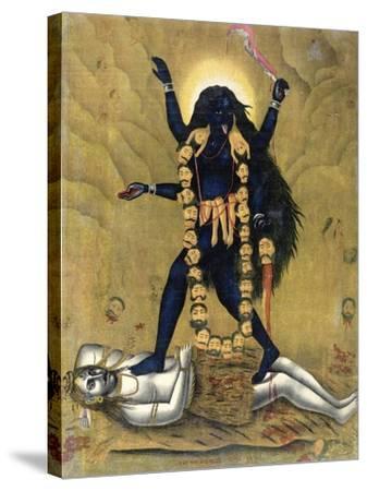 Hindu Goddess Kali Dancing on Siva--Stretched Canvas Print
