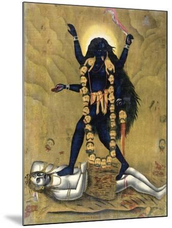 Hindu Goddess Kali Dancing on Siva--Mounted Giclee Print