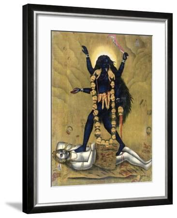 Hindu Goddess Kali Dancing on Siva--Framed Giclee Print