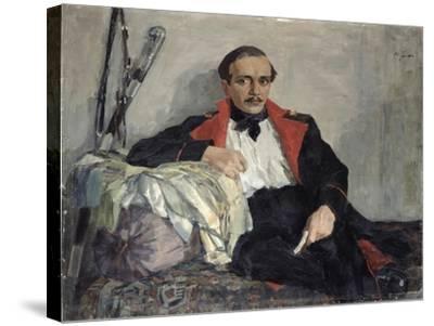 Portrait of Michail Lermontov-Nikolai Pavlovich Ulyanov-Stretched Canvas Print