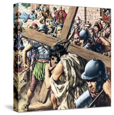 Christ Carrying His Cross-Jack Hayes-Stretched Canvas Print