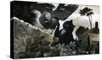 Cat Attacking a Bird-G^ W Backhouse-Stretched Canvas Print